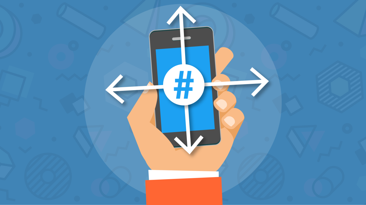 Icon showing hand holding mobile device with hashtag on screen