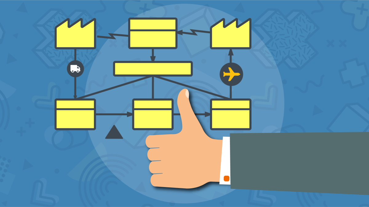 Icon showing hand doing thumbs up in front of value stream diagram