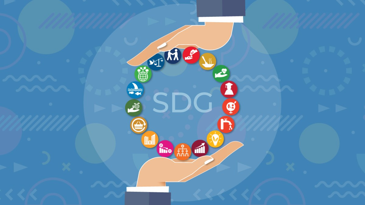 Illustration showing hands supporting United Nations SDGs