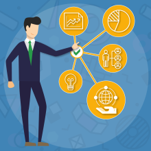 Icon showing businessman and chart with yellow bubbles