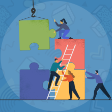 Masthead graphic depicting business people assembling giant puzzle pieces