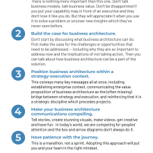 List of five tenets of socializing business architecture