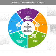 Pie shaped chart showing qualities of business architects